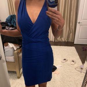 Nicole Miller Artelier blue low cut fitted dress